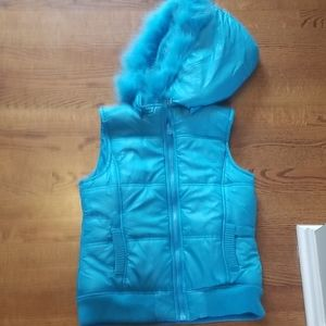Justice puffer vest with removable hood size 16